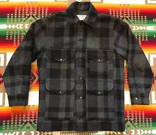 Vtg Filson Black Gray Plaid Mackinaw Wool Cruiser Jacket #110 Men's Sz 40 / M