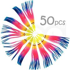 "50pcs 4-3/4"" Rainbow  Squid Skirts Octopus Hoochies Rock Fish soft plastic Lure"