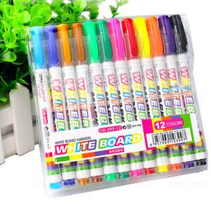 12Pcs Whiteboard Marker Pen White Board Dry-Erase Mark Sign Fine Tip Pens Set