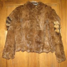 Bergen's Women's Coat Jacket Size medium Dyed rabbit Fur, raccoon tail