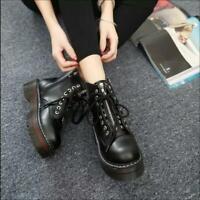 Punk combat ankle Lace up Ladies Women strappy flats shoes riding boots platform