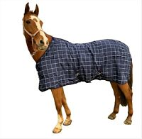 Stable Rug 100g Standard Neck Navy Check Design - All Sizes
