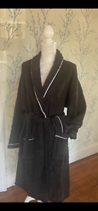 Luxury Embroidered  100% Egyption cotton black dressing gown robe unisex