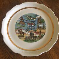 Vtg Missouri Souvenir plate The Show Me State Gold trimmed Mark Twain monument