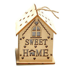 Hot Sweet Home Christmas Hanging Ornament LED Lights Wood HOUSE Xmas Tree Decor