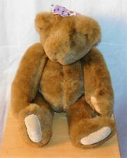"Vtg 1994 Vermont Teddy Bear Co. Jointed Brown 15"" Bear Pink Bow"