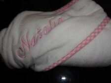 POTTERY Barn Kids gingham Pink  hooded bath towel mono Natalia  New