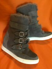 Women's Australian UGGS Grey Suede with Buckles Fur Lined Size 38