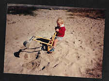 Vintage Photograph Adorable Little Boy Playing With Backhoe in the Sand at Beach
