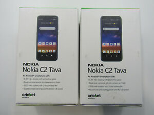 Lot of 2 New Nokia C2 Tava TA-1218 Blue Cricket 32GB Clean IMEI -BT7331 W