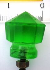 AMAZING GREEN DEPRESSION GLASS ART DECO HAND CUT KNOBS PULLS HANDLES