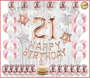 21St Birthday Decorations 21 Party Decoration Balloons Supplies ROSE GOLD