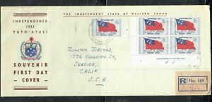SAMOA COVER (PP1809B) 1962 2/6 FLAG INDEPENDENCE PL BL 4+SINGLE FDC TO USA