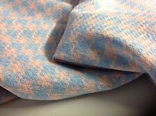 "NEW Beautiful Italian Dogtooth Dusky Pink/Wool/blue Boucle Fabric 61""156cm Check"