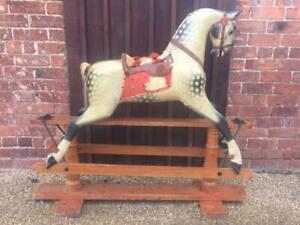 ORIGINAL LARGE ANTIQUE AYRES ROCKING HORSE CHRISTENING GIFT WORLDWIDE SHIP