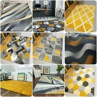 Mustard & Grey Rugs Modern Ochre Geometric Rugs For Living Room Hallway Runners