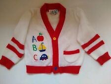 Small Steps Vintage Baby Cardigan Sweater ABC size 24M White Red