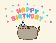 Cute Cat Kawaii Happy Birthday Card Funny Geeky Nerdy Gift Colourful Fun