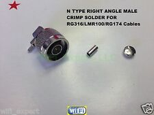 1 x N Male Right Angle plug crimp for Rg316 Rg174 Lmr100 cable Rf Connector Usa