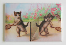 Cat Playing Tennis FRIDGE MAGNET (2.5 x 3.5 inches) kittens tennis players
