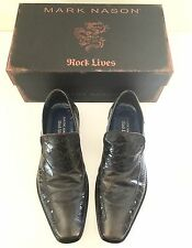 Mark Nason Italy Distressed Leather Stripe Chocolate Loafers Rockstuds 10 43