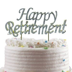 CT091 Happy Retirement Cake Topper Retired Office Decorations Gold Glitter Coworker
