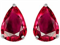 2 ct. Pear Shape Ruby Stud Earrings in Sterling Silver ~ JULY BIRTHSTONE