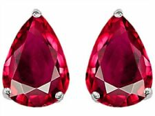 2 ct. Pear Shape Ruby Stud Earrings in Sterling Silver ~ JULY BIRTHSTONE