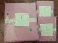 3PC Pottery Barn Kids Pink OXFORD EMBROIDERED PINEAPPLE Duvet/Shams FULL/QUEEN F