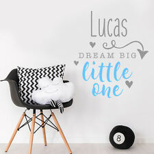 Personalise Custom Dream Big Little One Quote Baby Boy Bedroom Wall Sticker