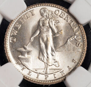1944-D, Philippines (US Administration). Silver 20 Centavos Coin. NGC MS66(+)