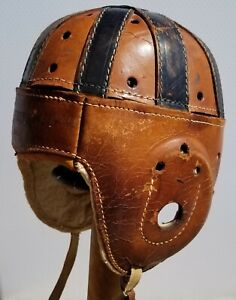 1930s Prep Leather Football Helmet with Chinstrap Vintage Model 2450
