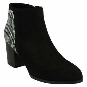 F5R0685 LADIES ANNE MICHELLE ZIP UP BLACK DIAMANTE BLOCK HEEL WINTER ANKLE BOOTS