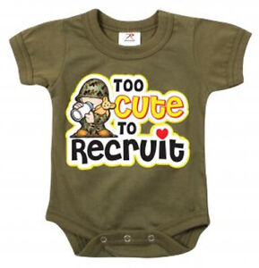 1pc Infant Bodysuit - Too Cute To Recruit | BABY | COSTUME | DRESS | PLAY
