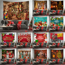 Christmas Fireplace Wall Hanging Picture Santa Claus Tapestry Poster Xmas Decor