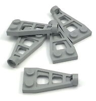 Lego 5 New Light Bluish Gray Plates Modified 1 x 2 Long Stud Receptacle Space