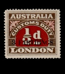 Australia London  customs duty  revenue  ½d O/Print  3 FARTHINGS