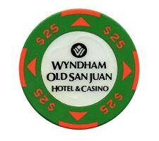 $25 WYNDHAM Casino GREEN ORANGE Chip SAN JUAN Harbor Puerto Rico WYN Bud Jones