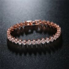 18K REAL ROSE GOLD FILLED MADE WITH SWAROVSKI CRYSTALS TENNIS CHAIN BRACELET