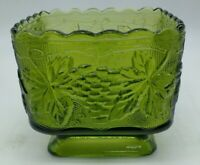 "1 Vintage Green Glass Planters 4"" square footed dish grapes leaf design Hocking"