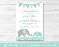 Mint Green & Grey Chevron Elephant Printable Baby Shower Invitation Editable PDF