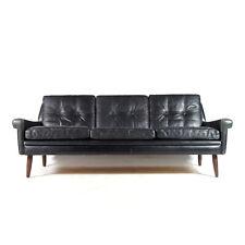 Retro Vintage Danish Skippers Mobler Leather 3 Seat Seater Sofa Teak 50s 60s 70s
