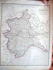 1870 CARTA GEOGRAFICA DEL PIEMONTE E LIGURIA DELL'ALLODI su disegno di Naymiller