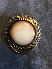 Vintage 1950's Scarf Ring in a Gold Coloured Metal Cream Marbled Stone Centre