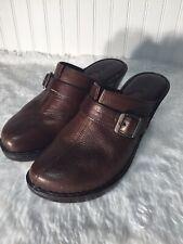 Boc Brown Leather Women Slides Clog Mule 10