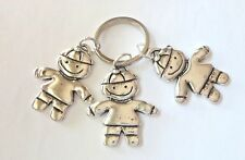 Pewter 3 Boys Sons Friends Brothers Grandsons Triplets Keychain Keyring