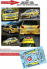 Decals 1/43 réf 504 Peugeot  206 Super 1600 ARDOUIN - PARIS  Réunion 2002