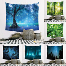 Wall Hanging Tapestry Blanket Mat Tree Forest Star Sky Sunflower Backdrop Decor