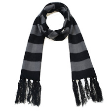 Despicable Me Gru Cosplay 6.8 Feet Black Gray Striped Knitting Scarf With Fringe