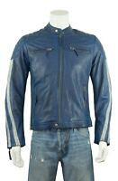 Osx New Men Blue Grey Stripe Cowhide Biker Leather Jacket Bike Rock